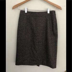 Brooks Brothers brown tweed suiting skirt